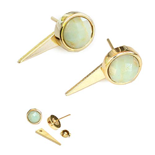 - FIRE EAR JACKETS 24K Gold Round Mint Green Chrysoprase Gemstone Stud Earrings | 3-Way Convertible | Hypoallergenic | Geometric Spike Triangle | Birthday Engagement Party gift