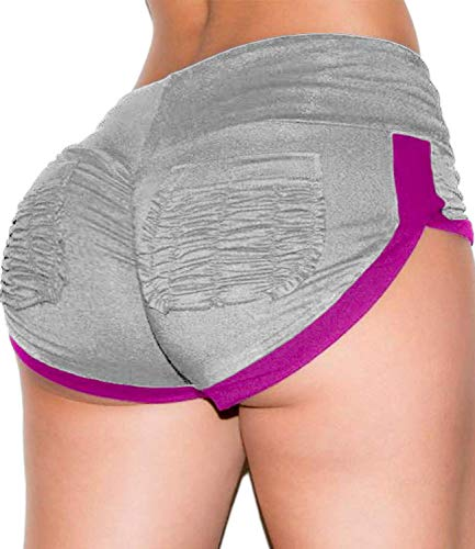 KIWI RATA Women's High Waisted Shorts Sport Fitness Gym Ruched Ruched Butt Lifting Workout Running Yoga Hot Pants (#3 Grey, L)