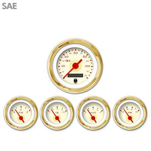 Red Vintage Needles, Gold Trim Rings, Style Kit Installed Aurora Instruments 997 Deco XT Tan SAE 5-Gauge Set