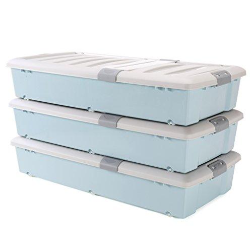 TYJY Caja de almacenamiento inferior con doble hebilla de plástico extra grande con tapa y ruedas, apilable, paquete de 3...