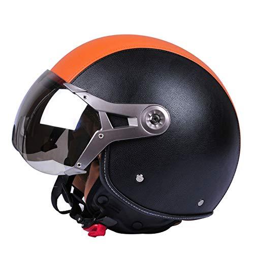 TZQ Casco De Motocicleta Vehículo Eléctrico Medio Cubierto Casco Masculino Y Femenino Fuerza Aérea Retro Haley Cuatro Estaciones Casco Protector Solar: ...