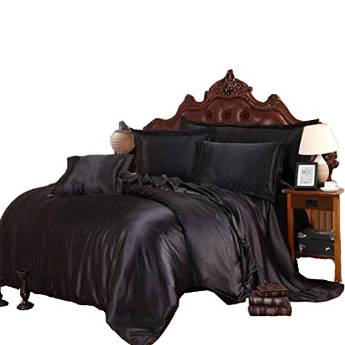 (Household Space Satin Silky Bedding Collection Black Bedding Set Full)