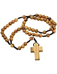 AUTHENTIC Olive Wood Catholic Rosary Beads Necklace from Bethlehem in Natural Cotton Pouch by BeBlessed