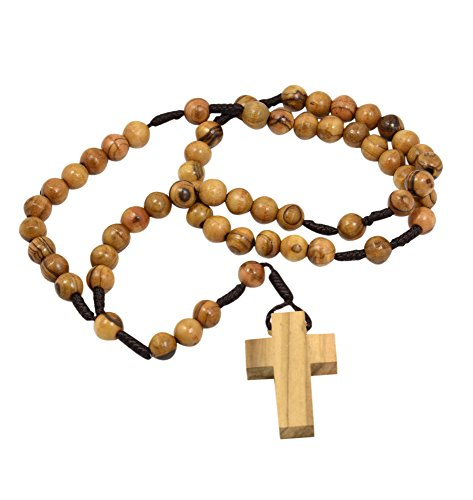 (AUTHENTIC Olive Wood Catholic Rosary Beads Necklace from Bethlehem in Natural Cotton Pouch by BeBlessed)