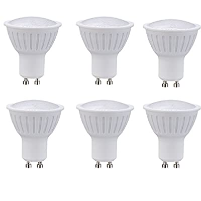 (Pack of 6) 5W(50 Watts equivalent) Dimmable GU10 LED Spotlight Nature white 4000k 450Lumens AC120V GU10 Medium Base Plastic And Aluminum 120 Degree Beam Angle