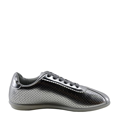 Women's Sneaker Paz Qupid Perforated Lace Metallic Silver Up 01 qEUwg0