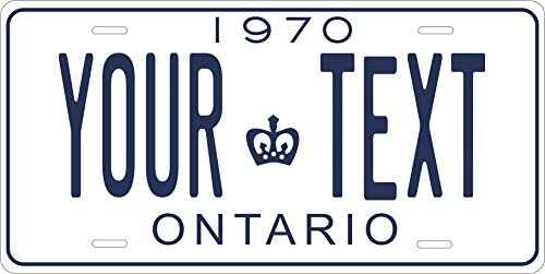Canada 1970 Personalized Tag Vehicle Car Moped Bike Bicycle Motorcycle Auto License Plate (Ontario Car License Plate)