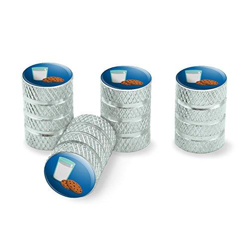 Glass of Milk and Cookies Tire Rim Wheel Aluminum Valve Stem Caps - Aluminum