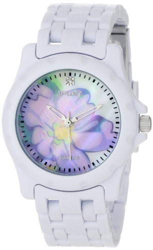 Sprout Women's ST6001LMWT Diamond Accented Lavender Flower Dial and White Corn Resin Bracelet Watch (Eco Friendly Dial Diamond)