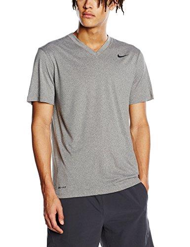 NIKE Mens Legend V-Neck Training T-Shirt Carbon Heather/Black 624314-091 Size Large