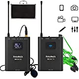 Pixel Full Metal 4 Channels UHF Professional Wireless Lavalier Microphone System Compatible for Canon Nikon Sony Panasonic D/SLR Camera