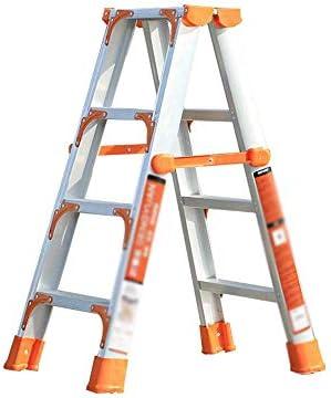 ヘリンボーン折りたたみはしご、アルミ合金折りたたみはしご家庭用キャビネットに適した二重サイドはしごエンジニアリングエスカレーター折りたたみはしご(色:A)
