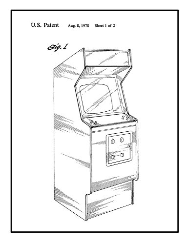 Video Game Cabinet Patent Print Black Ink on White with Bord