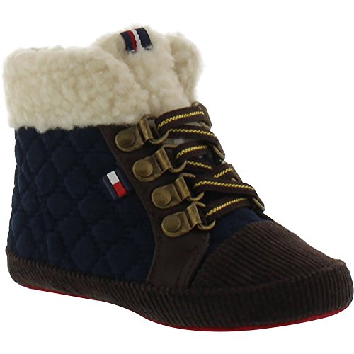 Tommy Hilfiger Kids Kids' Baby Hiker Quilt Boot, Brown/Peacoat, 4 M US Toddler