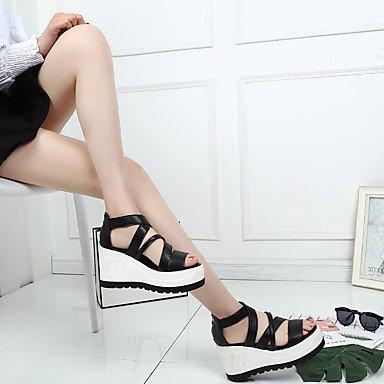 LvYuan Tacón Cuña-Otro-Sandalias-Exterior Vestido Informal-PU-Negro Rosa Blanco White