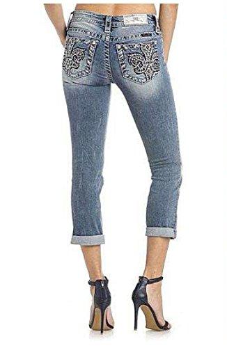 Embellished Back Pocket - Miss Me Women's Fleur De Lis Chic Embellished Back Pocket Capri Jeans M3169P, 27