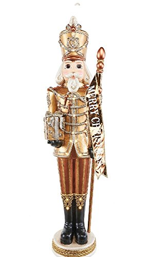 These Grand Nutcrackers are 6-ft tall. A dazzling Christmas display with their 23-LED lights. Each is ready to greet your guests dressed in his finest Golden uniforms.