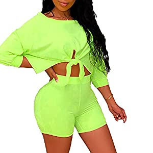 Women's Sexy 2 Piece Outfits Crop Top Bodycon High Waist Shorts Tracksuit Set Jumpsuits Rompers
