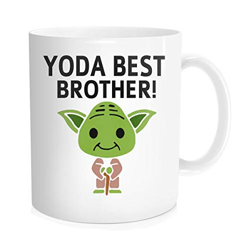 Chilltreads Yo-da Best Brother Mug, Funny Star Fans Coffee Cup, Big Brother Birthday Present, Yo-da Brother, 11 Oz White