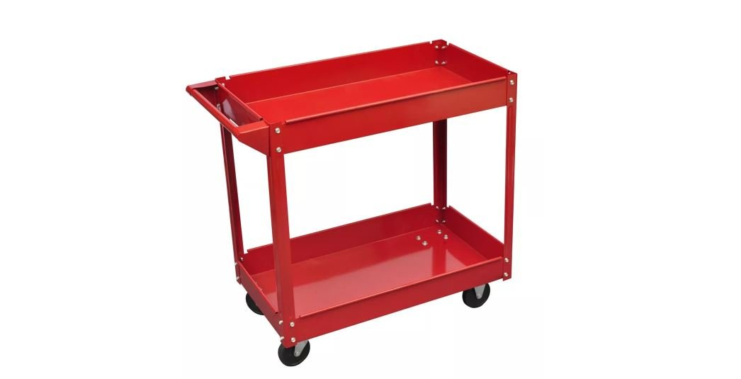 Workshop Tool Trolley Red Storage Cart Shelves Rolling Mechanic Utility 220 lbs. Red 2 Layers K&A Company