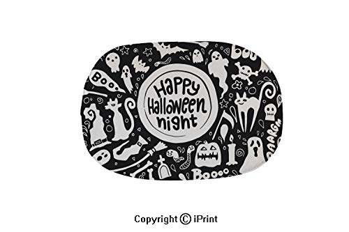 Colorful Bathtub Mat,Non-Slip Big Drain Hole with Suction Cups Extra Soft,Cute Happy Halloween Night Background Hand Drawn style5,19.7