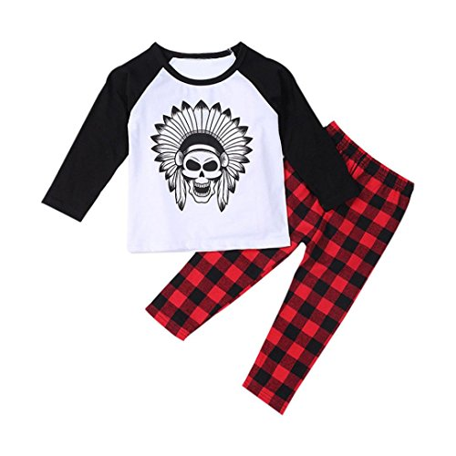 FEITONG 1Set Infant Toddler Baby Boy's Long Sleeve Print T-shirt Tops+ Pants (18 Months) (Clearance Baby)