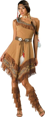 InCharacter Costumes, LLC Women's Indian Maiden Costume, Brown, - Boot Indian Fringe