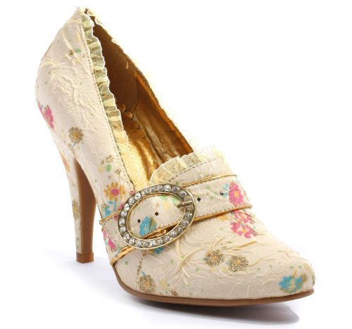 Buckle Detail Pumps (4.5 Inch Decorative Fabric Pump Women'S Size Shoe With Rhinestones And Buckle Detail (Ivory-9))