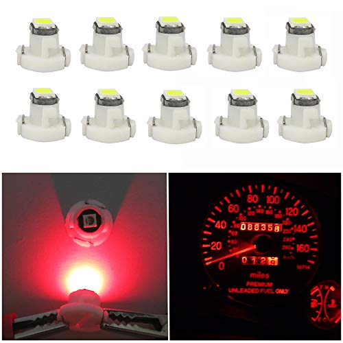 WLJH 10x Red T3 Neo Wedge Led 3030 SMD Chip 8mm Base Led Car Instrument Cluster Led Light Dashboard Gauge Bulb HVAC AC Heater Climate Control Lamps Radio Switch Indication Interior Bulb Replacement
