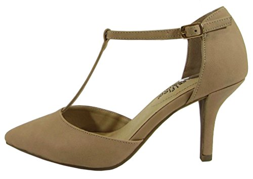 - City Classified Comfort Women's Pinty Toe T-Strap Mid Heel Pump,8.5 B(M) US,Natural Nubuck