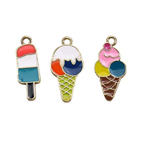Monrocco 30Pcs Ice Cream Charm Enamel Ice-Cream Bracelet Charms Pendants for Jewelry Making Bracelet Necklace (Ice Cream Cone Bracelet)