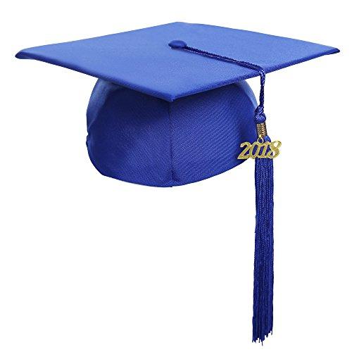 Newrara Graduation Unisex Matte Adult Graduation Cap with Tassel (Royal)