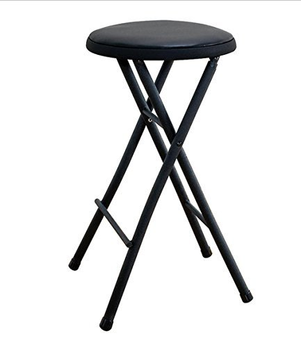 Black Folding Stool Chair 24'' Lightweight Home Office Stool for Kids Cushioned Seat Metal Frame Portable Convenience Quick Seat Anywhere