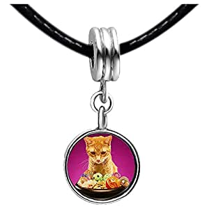 Chicforest Silver Plated cute cat Halloween food Photo Topaz Crystal November Birthstone Flower dangle Charm Beads Fits Pandora Bracelet