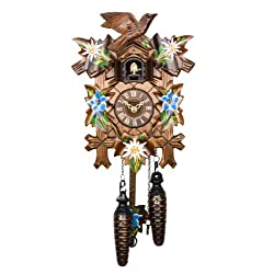 Adolf Herr Quartz Cuckoo Clock - Alpine Flowers AH 40/8 QM