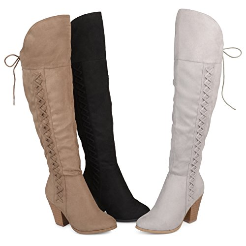Image of Brinley Co. Womens Siro Faux Suede Regular Wide Calf Faux Lace-up Over-The-Knee Boots