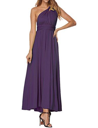 SELUXU Vestido de Las Mujeres de Alta Cintura Convertible Multi-Forma Abrigo Dama de Honor Formal Largo Vestidos Maxi Transformador/Infinito Vestido Púrpura Oscuro