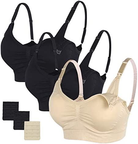 Extenders /& Clips STELLE Body Silk Seamless Maternity Nursing Bra with Pads