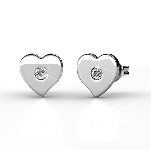 (Cate & Chloe Vanessa Petite Sacred Heart Shape 18k White Gold Silver Stud Earrings with Center Swarovski Crystal, Beautiful Small Heart Shaped Earring Set, Tiny Heart Earrings for Women)