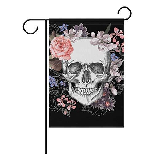 Halloween Vintage Skulls Floral Flowers Garden Yard Flag Banner for Outside House Flower Pot Double Side Print 12x18 -