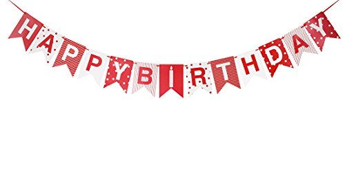 Brcohco Happy Birthday Red & White Point Banner Bunting with Letters Party Supplies