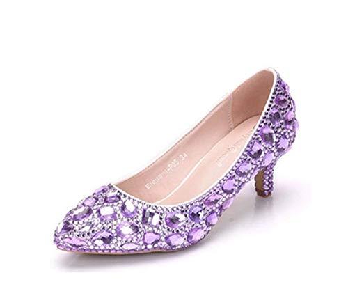 Para Bajo Tacón Cuentas 6cm Abalorios 6 Zapatos Heel Imitación Purple Diamantes Cordones Hhgold Uk Mujeres Heel Tamaño De color Fiesta Con Y FaPcwvp7q