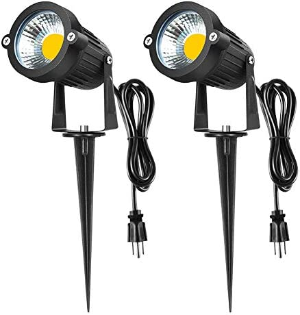 WeLead Bright LED Spotlight 7W COB Pathway Lights with U.S. Plug Flag Spot Light Garden Light with Metal Ground Stake, Waterproof Landscape Lighting for Lawn, Driveway, Yard, Set of 2 Warm White