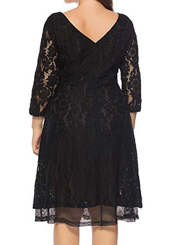 d772c16824f KILOLONE Women s Plus Size Floral Lace Midi Dress Formal A Line Swing Cocktail  Party Dress