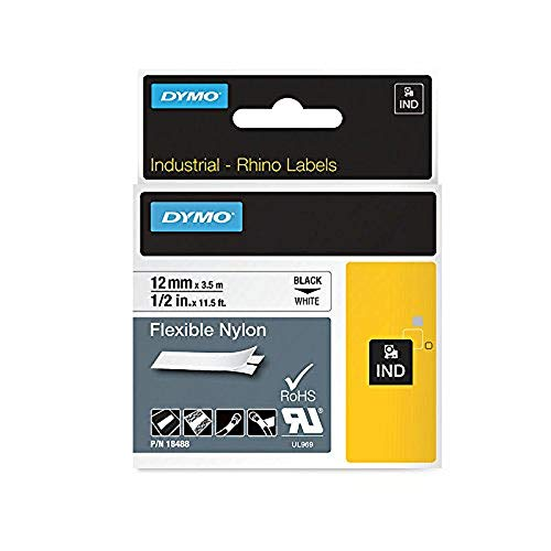 DYMO Authentic Industrial Labels for  LabelWriter and Industrial Label Makers, Black on White, 1/2, 1 Roll (18488)