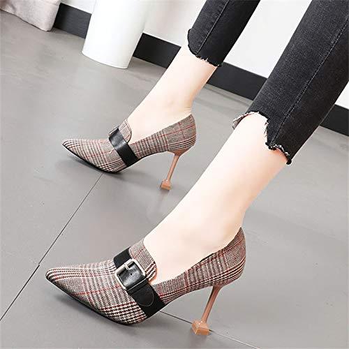 Yukun Schuhe mit hohen Absätzen Plaid Tuch Tuch Tuch Mädchen Schuhe Herbst Spitzen Stiletto Heels Flacher Mund Einzelne Schuhe Arbeitsschuhe ab1485