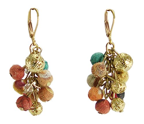 Recycled Kantha Textile Beads Fair Trade Cluster Earrings