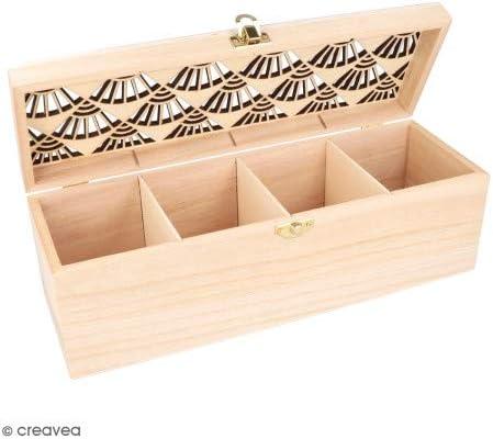 ARTEMIO 27 x 10.5 x 8 cm 4-Case Wooden tea box Beige
