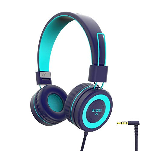 Kids Headphones for Children Boys Girls Teens Wired Foldable Lightweight Stereo On Ear Headset for iPad Cellphones Computer MP3/4 Kindle Airplane School NIVAVA K8(Navy/Teal)