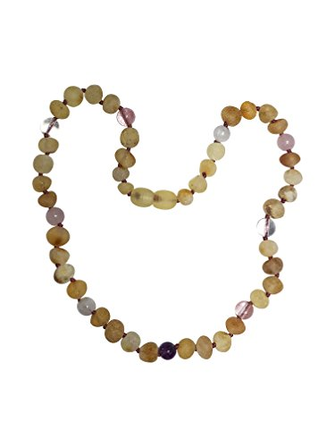 Baltic Amber Necklace for Kids- 15 inch- Immune System Boost - Positivity and Focus. for Children Ages 4-15 (Pink/Purple) by Umai